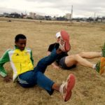 Run Africa Ethiopia visiting runner Phil at Jan Meda training ground